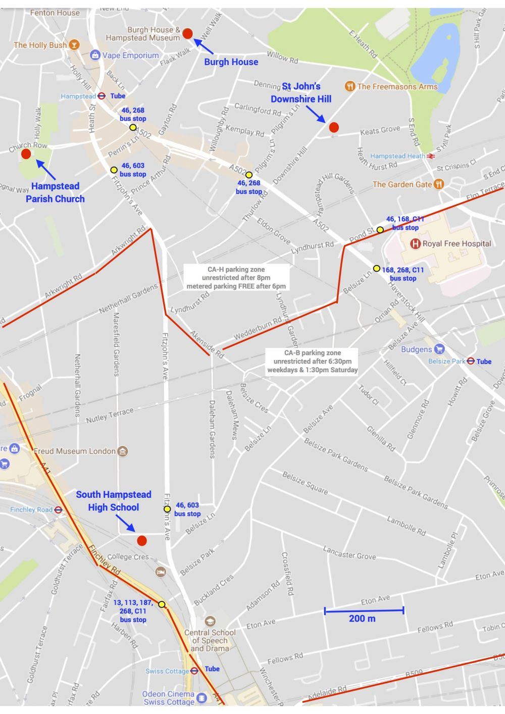 Hampstead Arts Festival map of venues